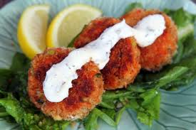 GF Salmon Cakes with Horsey Sauce